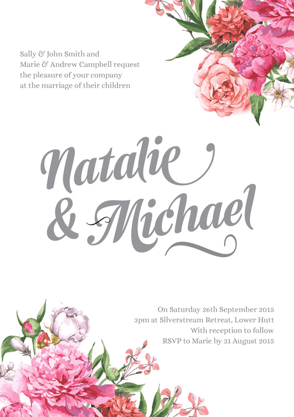 FREE Floral Wedding Invitation